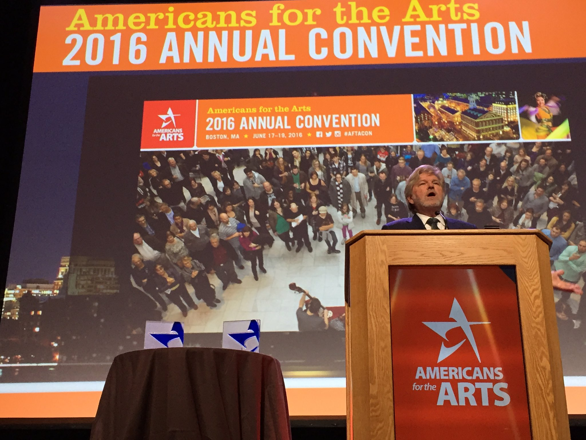 """The arts tell us who we are and how we got here."" #ArtsCEOLynch annual State of the Arts speech at #AFTACON https://t.co/bze7puKhGB"