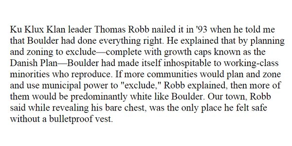 """Devin mentions 1993 interview w/ KKK member—said Boulder zoning had """"done everything right"""" https://t.co/kJuYvJPZCX https://t.co/KdJy0yL8Lu"""