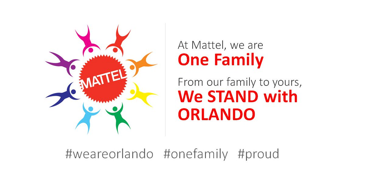 At Mattel we are one family... in Orlando and throughout the world. #WeAreOrlando #OrlandoStrong #onefamily #proud https://t.co/NvFQ89qJH3