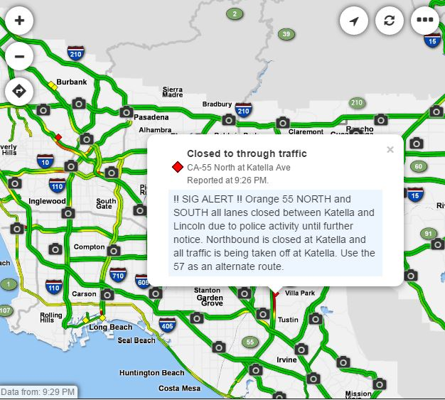 Knx 1070 Traffic Map.Traffic Alert Police Activity Closes All Lanes Of 55 Freeway B N
