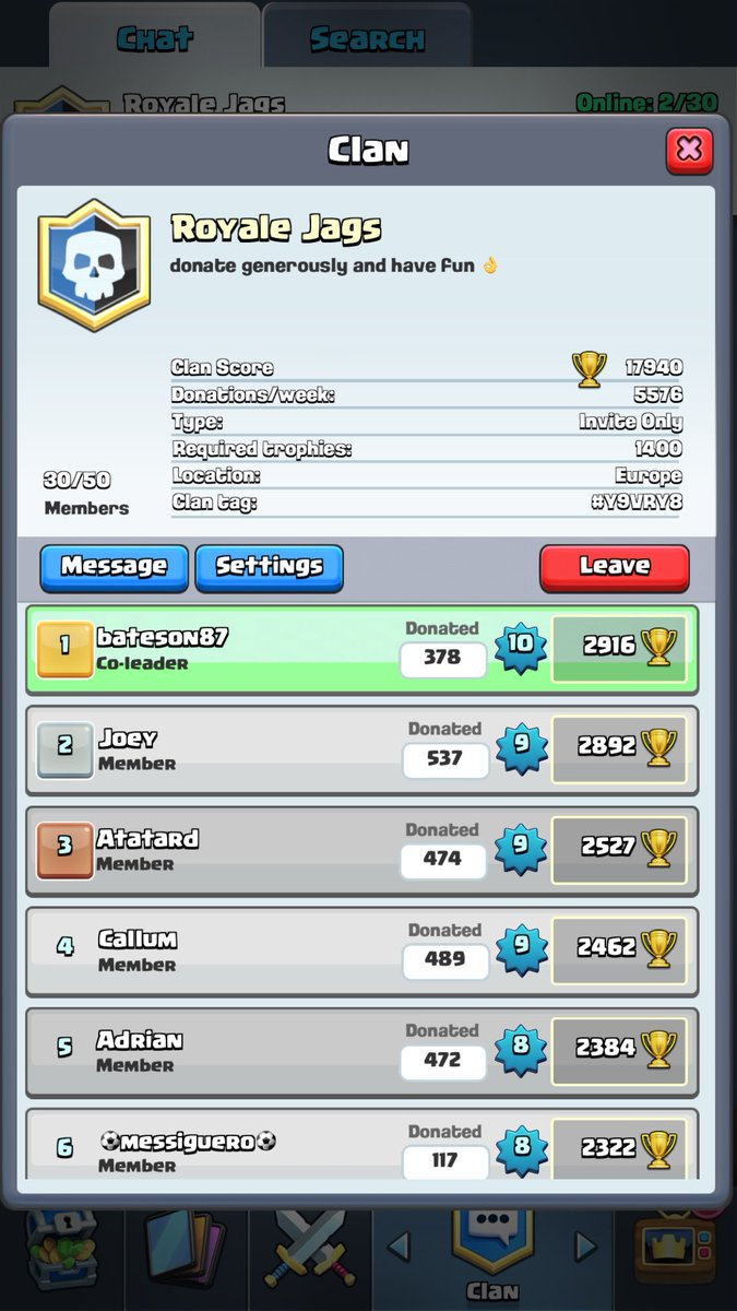 Bateson87 on Twitter If anyone plays clash Royale Just cleared