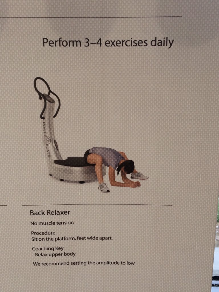 Thank you kindly instructions, but a woman using the power plate in this position, isn't doing it to relax her back. https://t.co/ukGB5J1pb2