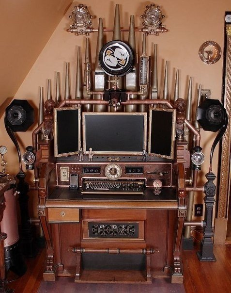 #Steampunk Awesome of the Day: '#Victorian Organ Command Desk' by Bruce&Melanie Rosenbaum v/ @alexeylyolik #SamaGeek
