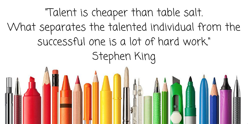 """What separates the talented individual from the successful one is a lot of hard work."" Stephen King https://t.co/RkMGohp7sL"