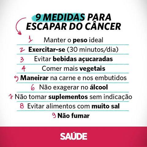 a nutricionista Lilian Mika Horie listou nove pontos que diminuem muito o risco de você sofrer com um câncer.