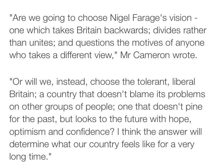 Not often I agree with mr Cameron but... #VoteRemain https://t.co/975QgZTuAQ