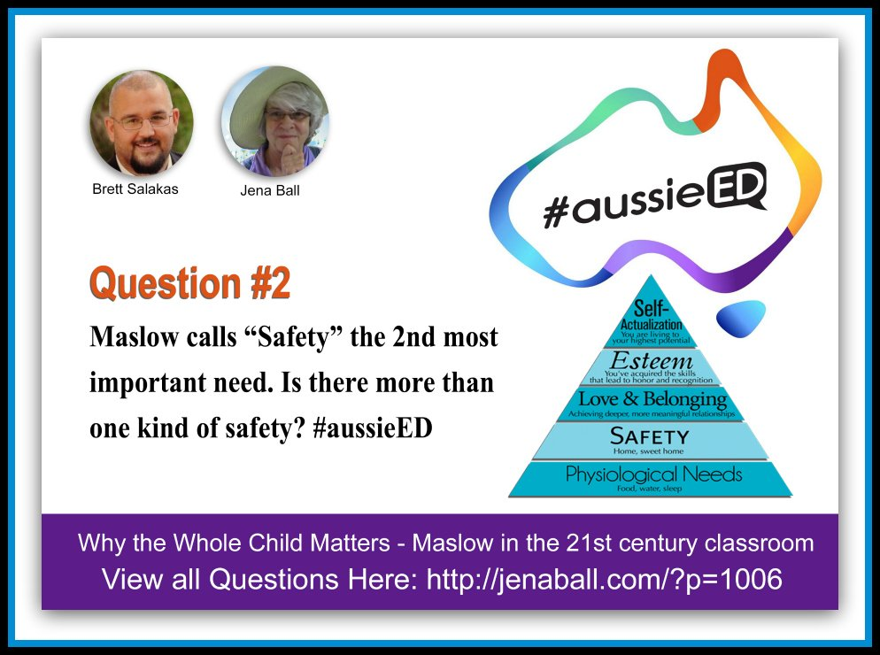 "Q2: Maslow calls ""Safety"" the 2nd most important need. Is there more than one kind of safety? #aussieED https://t.co/SIIZWEip37"