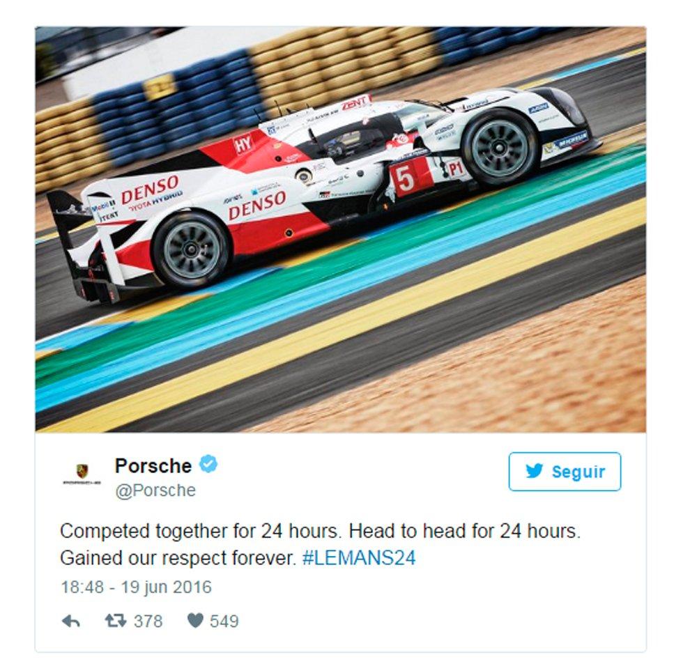 Fair play en Le Mans. Los rivales reconocen los méritos de Toyota https://t.co/tFaMzsAl9H https://t.co/LM7NAvc7Ej
