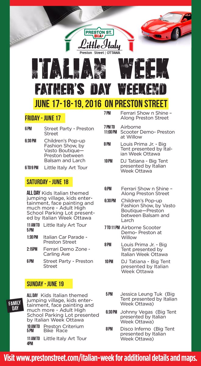 Today's the last day! Check out our schedule for today's activities 🇮🇹👇🏼 #ItalianWeek2016 #Ottawa #FathersDay https://t.co/uWZGSUo8sv