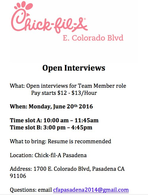 Chick Fil A E Colorado Blvd On Twitter Open Interviews