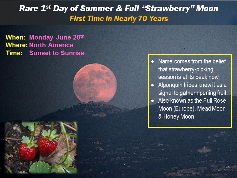 """Once in a lifetime event tomorrow. 1st time since 1948 where 1st day of summer occurs with a full """"strawberry"""" moon. https://t.co/icIXNhSD8C"""