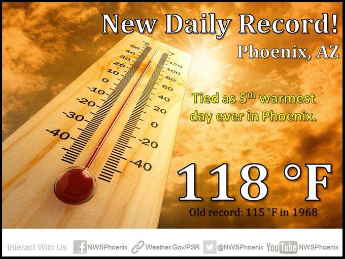 New record high in Phoenix of 118°. #AZheat #azwx