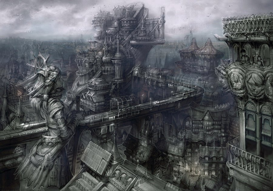 #Artwork Awesome of the Day: #Steampunk-ish #Gothic Dystopian Cityscape by Keunju Kim (2010)  via @mythania #SamaArt