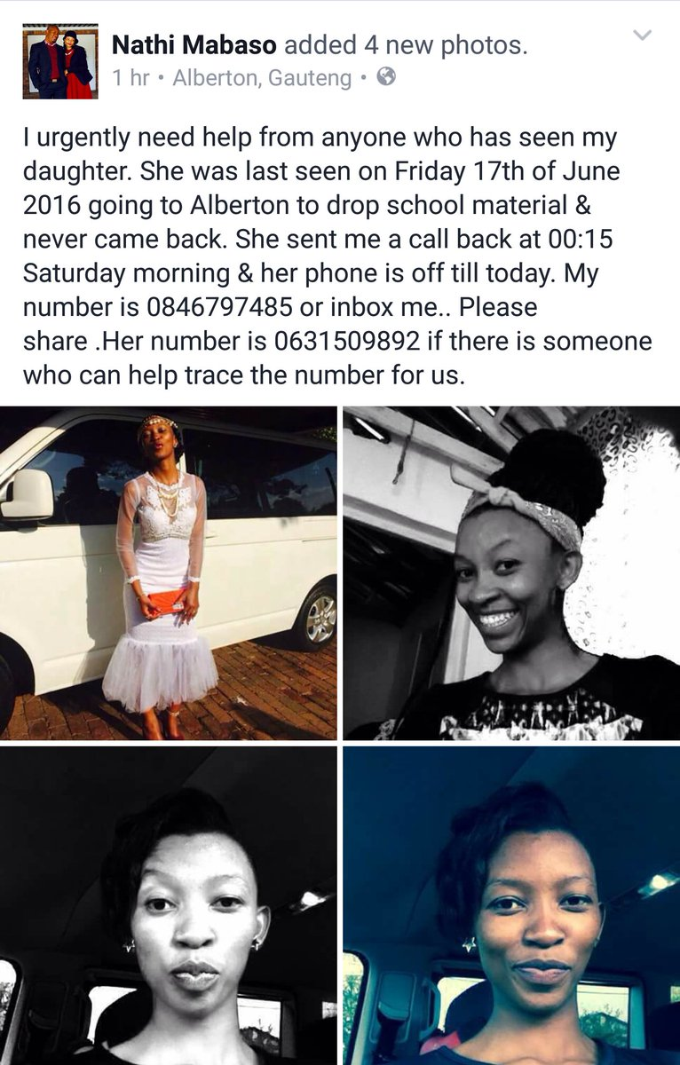 Nathi Mabaso urgently needs help from anyone who has seen his daughter. Please RT. https://t.co/xMi5RMp0FW