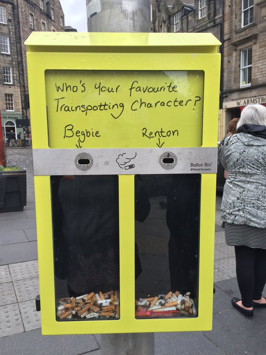 Who's your favourite @IrvineWelsh? Tackling cigarette litter with Begbie and Renton in the Grassmarket #NeatStreets https://t.co/NBY313BEVZ