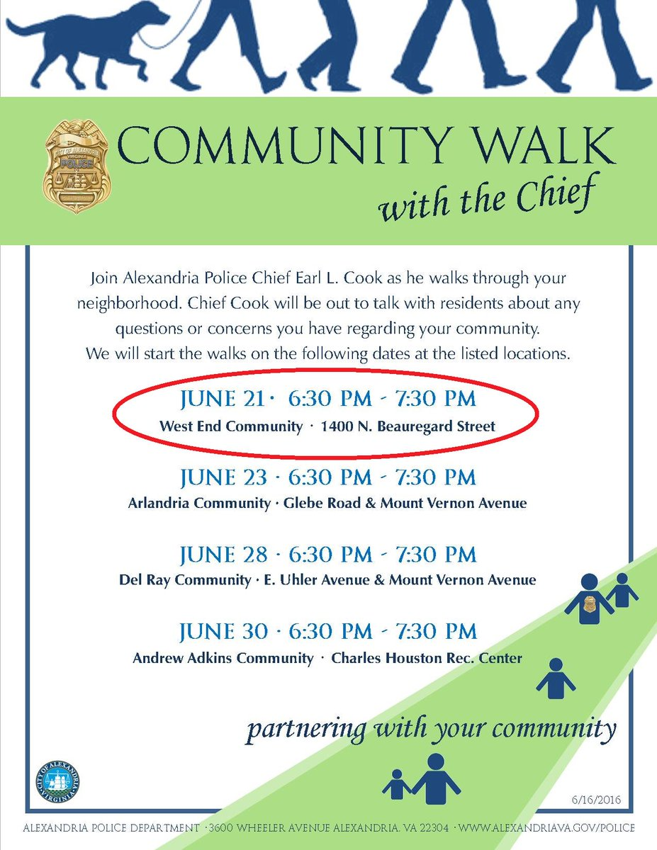 Community Walk with Police Chief Earl Cook in the West End of Alexandria, Virginia