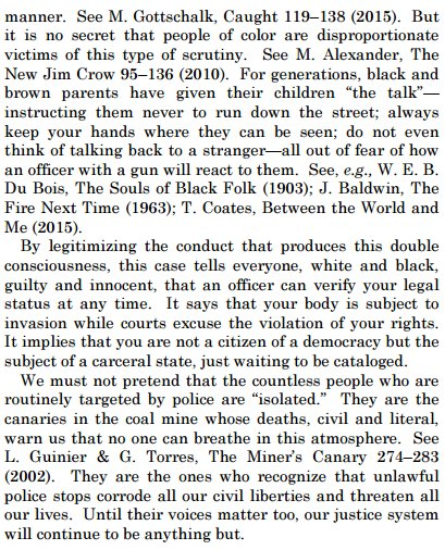 The Sotomayor dissent is epic and important. It's a Black/Brown Lives Matter manifesto. https://t.co/M7uXPswxDS