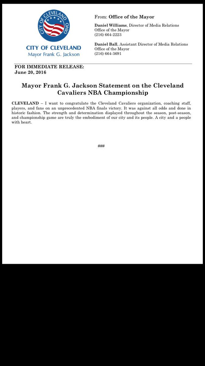 Letter from Mayor Jackson to #Cavs #WorldChamps #apeoplewithheart #ALLin216 #ALLinCLE @DCRA1 https://t.co/3FY1b0jQ90