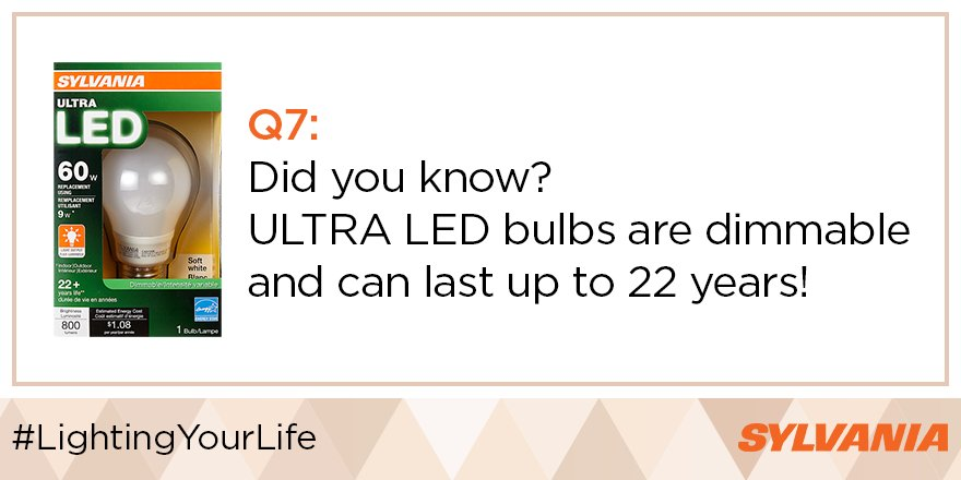 Q7) Did you know? SYLVANIA ULTRA LEDs bulbs are dimmable & can last up to 22 years?! #LightingYourLife https://t.co/0eIO1DoPaK