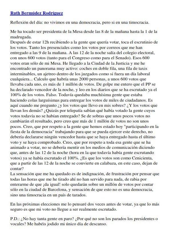 España. Elecciones. Fraude Electoral. Ruth Bermudez Rodríguez presidenta de mesa habla de fraude.@Anonymous_UE