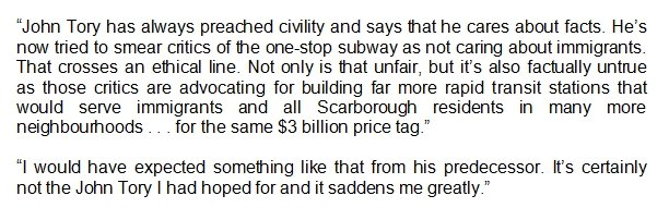 .@JoshMatlow, who has been one of the most vocal Scarborough subway critics Tory references, on the mayor's op-ed: https://t.co/GxEX5swJT0
