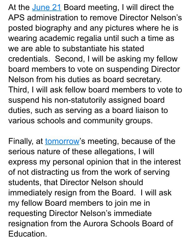 BREAKING: @aurorak12 Board Prez to request Eric Nelson to resign at tomorrow's board meeting. #copolitics #Denver7 https://t.co/IZ8xi5vI7f