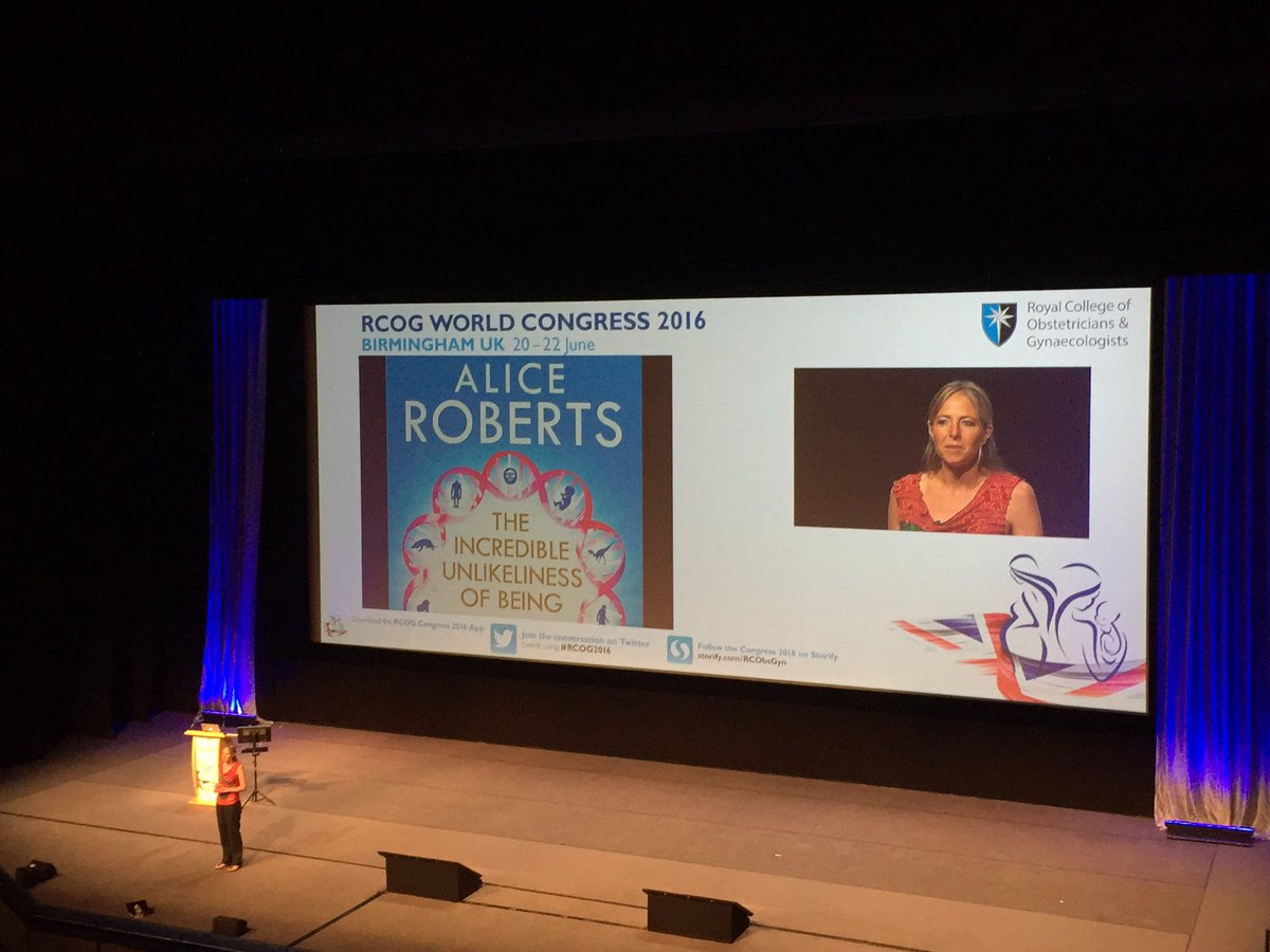 Broadcaster & clinical anatomist, Dr Alice Roberts, is discussing 'The Origins of Us and the Human Story' #RCOG2016 https://t.co/sQBVBGSXWp