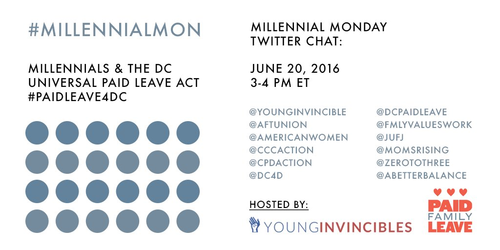 Welcome to #MillennialMon! Today's topic: Millennials & #PaidLeave4DC starting at 3pm ET! https://t.co/LYED9Yn7r4