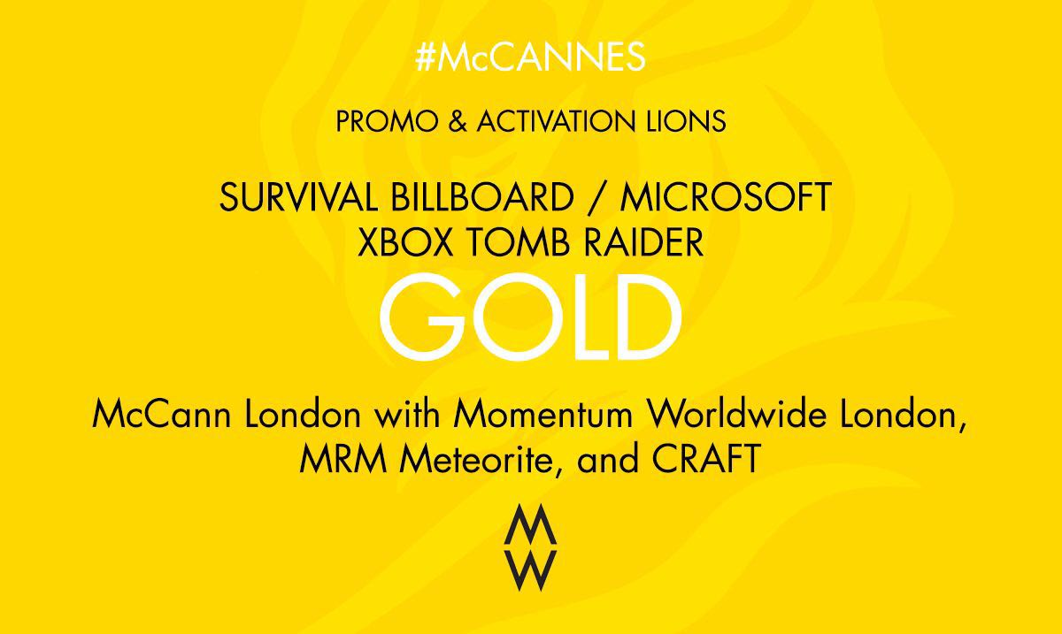 GOLD number 2. #Canneslions for Promo & Activation #SurvivalBillboard @xboxuk. #McCannes https://t.co/PgmJZjkwyt