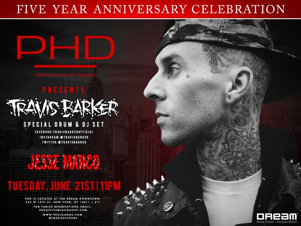 Join us tomorrow night as @PHDRooftopNY turns 5 with a special drum & DJ set by @TravisBarker! https://t.co/ezzyLiSR8N