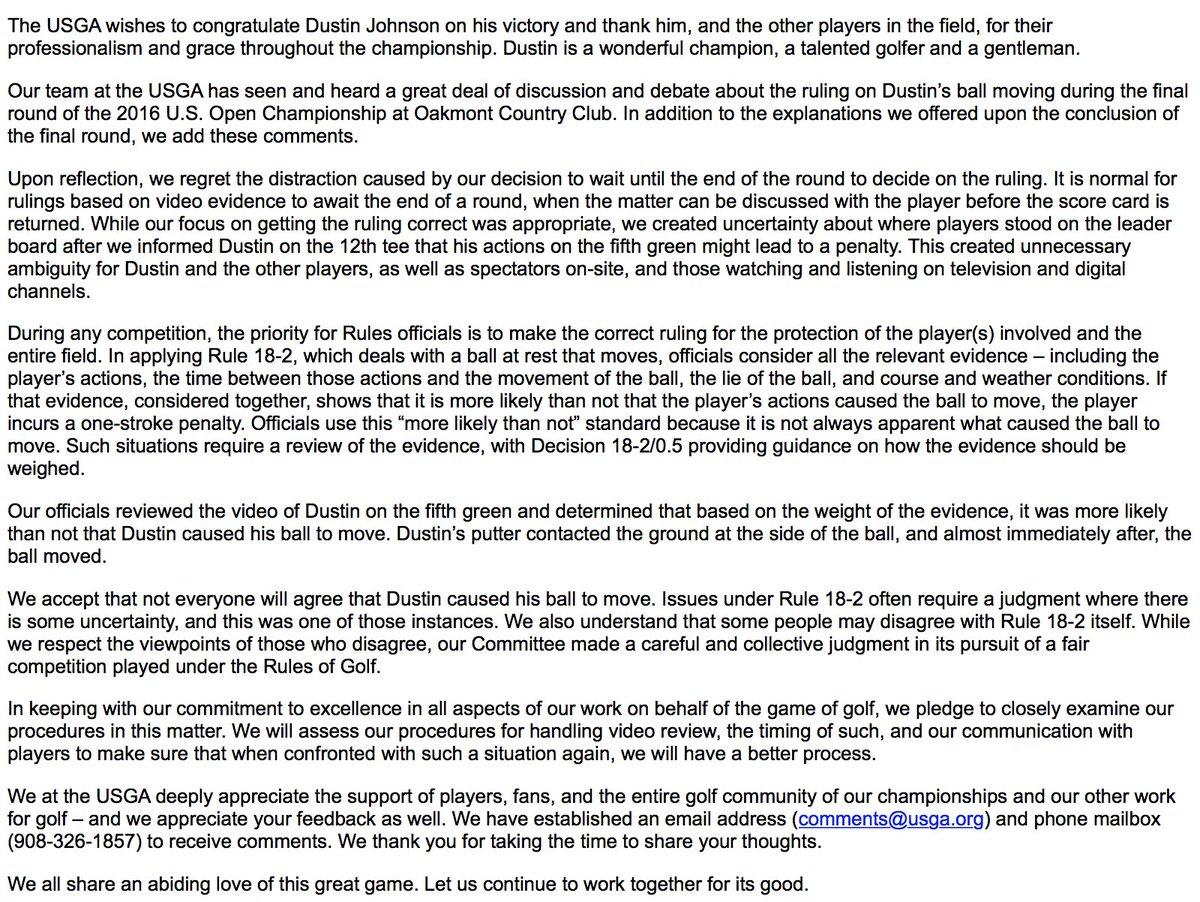 The full @USGA statement. https://t.co/EI6lvCrSkL