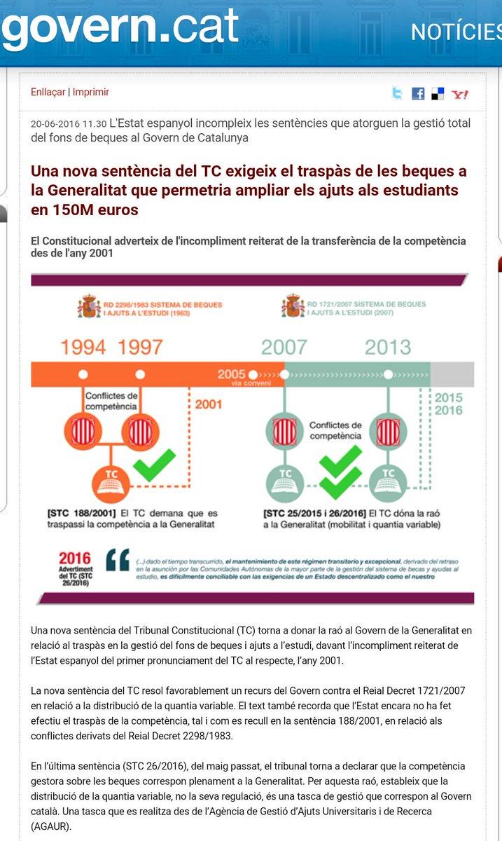 Una nova sentència del TC exigeix el traspàs de les beques a la Generalitat que permetria ampliar els ajuts als estudiants en 150M euros