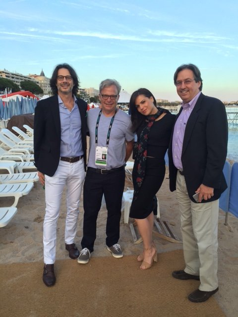 At @FreeWheel @StickyADStv beach party w/ @LanaParrilla and @inviditech @fred_diblasio left and Michael Kubin right https://t.co/mICBx4io14