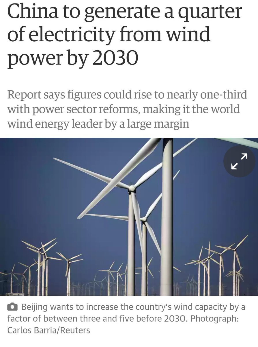 RT @BrianVad #China to generate 1/4 of #electricity from #wind power by 2030 https://t.co/8aR0FyPvTF #renewableenergy #windpower
