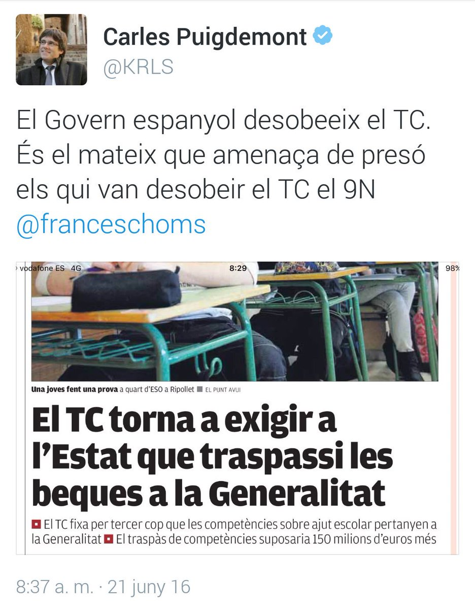 El Govern espanyol desobeeix el TC