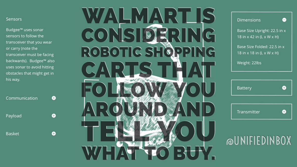 Walmart considering robotic shopping carts that follow you around and tell you what to buy