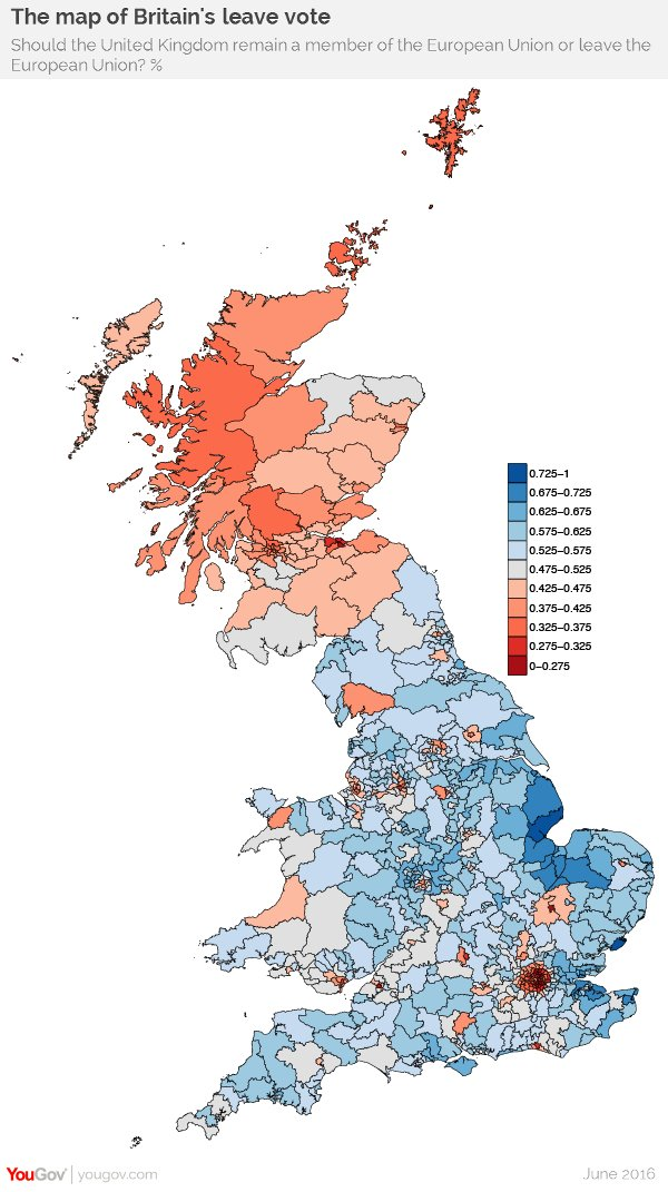 Map Of England 2016.Yougov On Twitter The Map Of Britain S Leave Vote Based On Our New