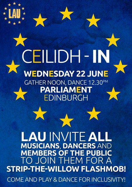 22 June Parliament Edinburgh  CEILIDH IN gather at noon all welcome strip the willow flash mob https://t.co/vH40IGsnLr