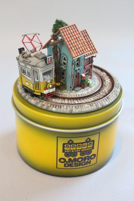 空缶ジオラマ(ヨーロッパ市電)も完成。 レモンイエローが気に入っています。
