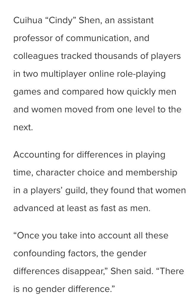 "Here's the summary of that study. Men are not ""better"" at video games. #gaming https://t.co/mSOXFAIvIf"