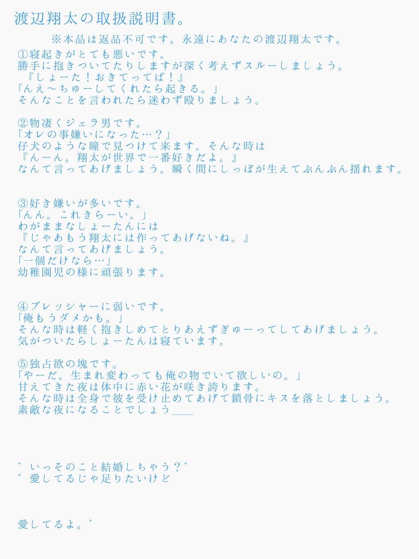 小説 渡辺 翔太 夢