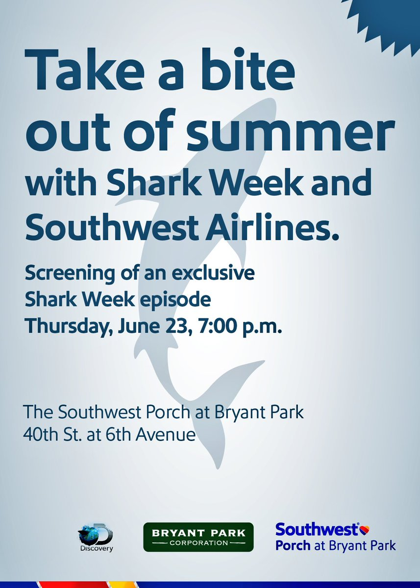 NYC friends..Join the fin, I mean fun w/ @SouthwestAir on 6/23 for a sneak peek at #SharkWeek #SharksTakeFlight https://t.co/RXWf5d2SFr