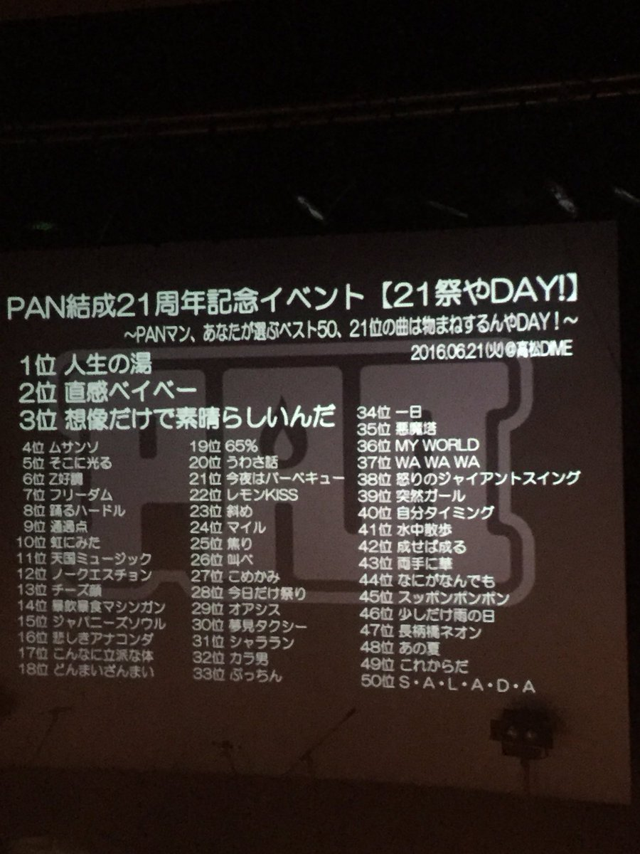 21祭やDAY!! 高松DIME50曲+2曲終わったーーっっ!! これはかなり良かったんちゃうの!! あ〜〜っ爽・快・感!! ほんまありがとう!! https://t.co/FhnGX0TBGj