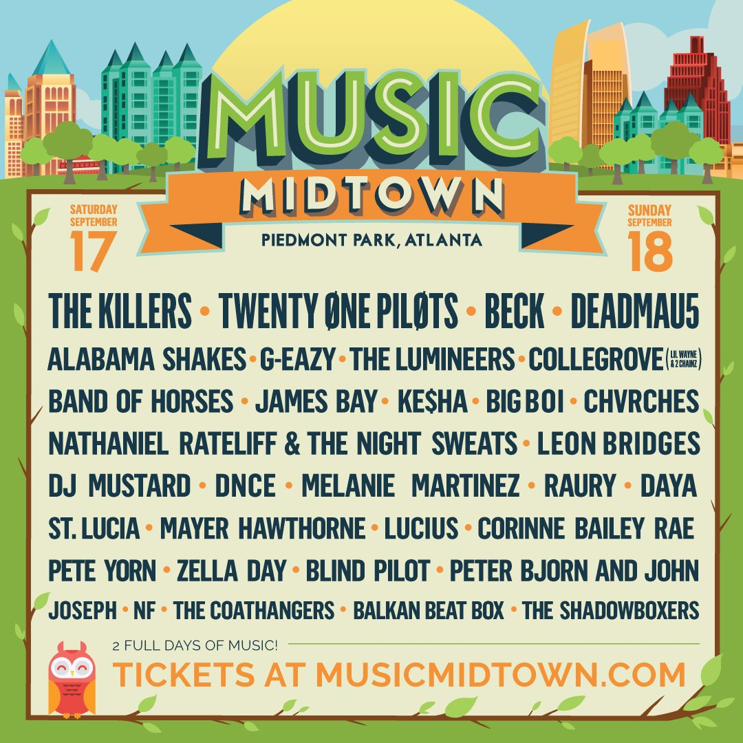 The #MusicMidtown lineup is here! Join the E-LIST for Presale Access & get your tix early: https://t.co/fBjRODF8Na https://t.co/jmpLHb1Dir