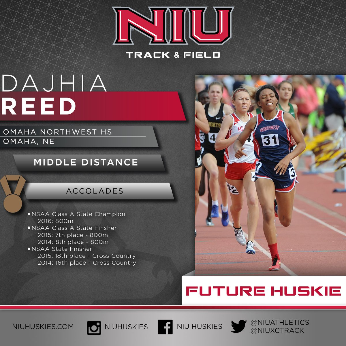 """Taking """"Once a Husky, always a Husky"""" to another level!  Congratulations on your commitment Dajhia! 🐾 🏅"""
