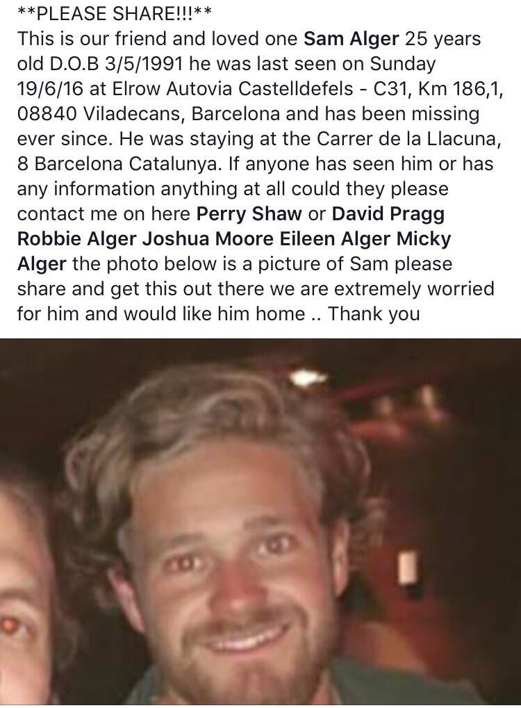 PLEASE RETWEET & SHARE OUR FRIEND SAM HAS BEEN MISSING SINCE SUNDAY #barcelona #elrow