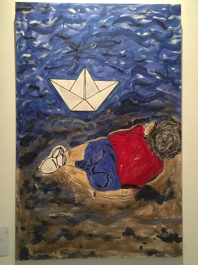 ALPHA, a Mauritanian artist who lived in the 'Jungle', presents his response to death of Alan Kurdi #CalaisStories https://t.co/Y4lIdtrAal