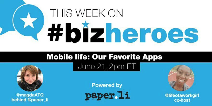 Join us today for #BizHeroes!! Let's talk about #mobile apps https://t.co/opVtXJaWVF