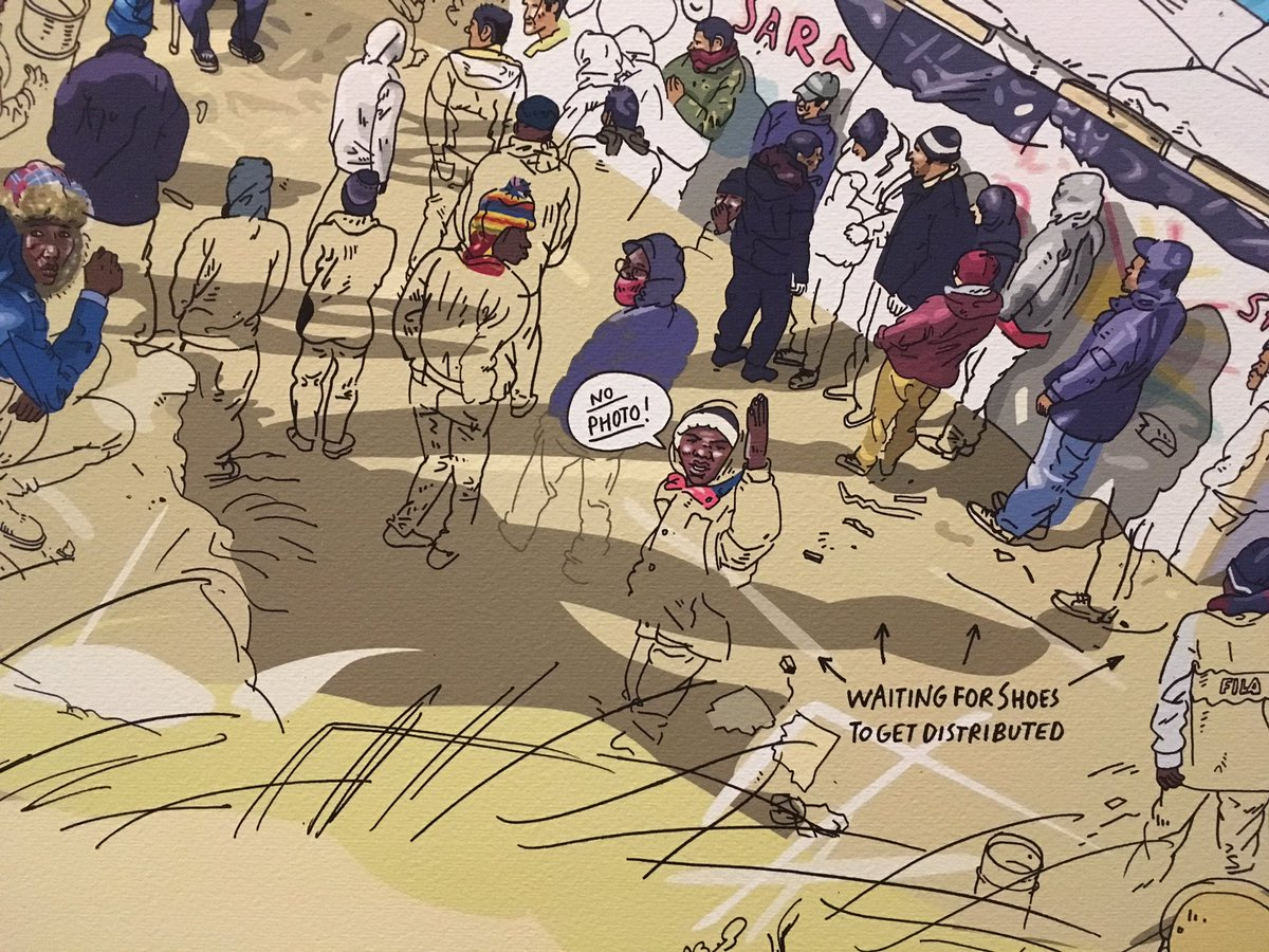 'No photo' - Olivier Kugler's illustration reflects the fears and frustrations of camp residents #CalaisStories https://t.co/ObYDD8HPls