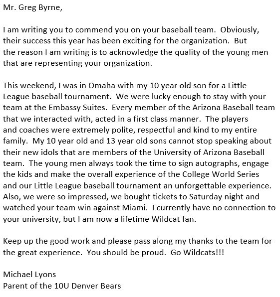 This will make you even prouder of @ArizonaBaseball.  #BearDown @UAWildcatWay https://t.co/a9Q8CXjoXj